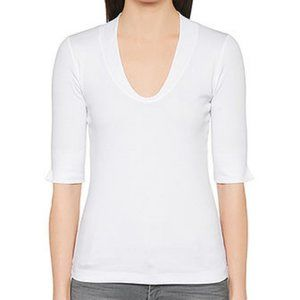MARC CAIN Sweetheart Ribbed White T Shirt